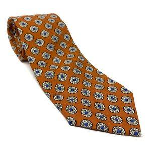 J.Crew Men's Orange Printed Silk Tie